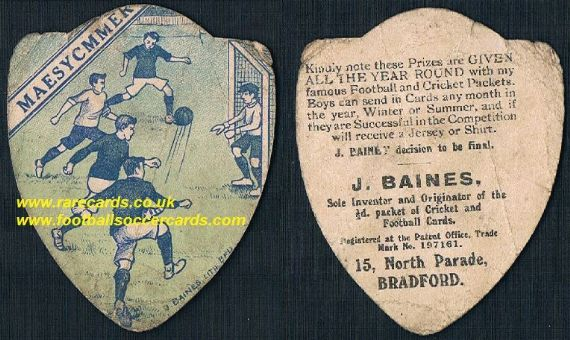 1910 Maesycwmmer F.C. Caerphilly Wales football card by Baines
